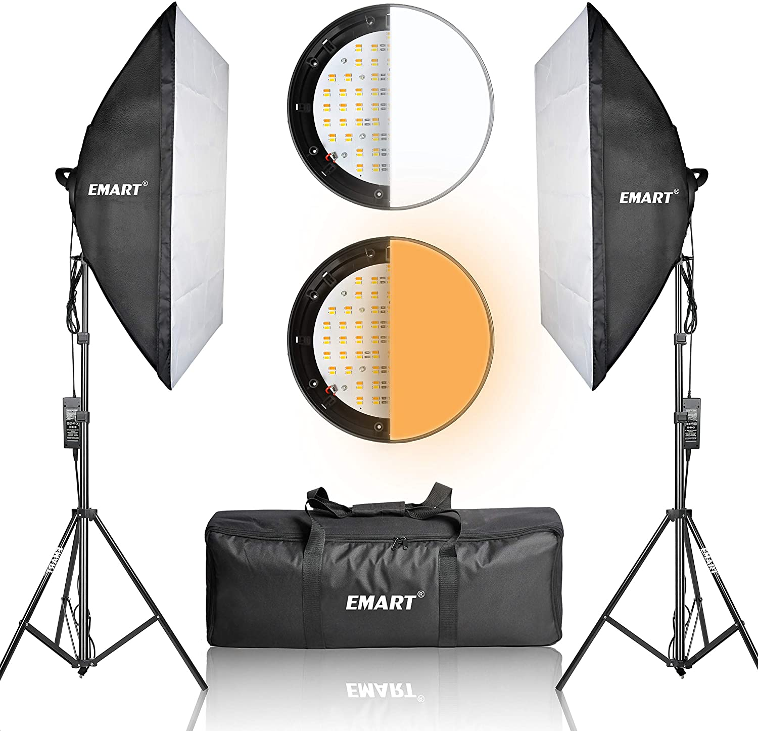 or I 2 Bulbs Suitable for a variety of Studios Hopeg Photography Light Set Softbox Lighting Kit Professional Studio Photography Continuous Equipment with 85W 5600K E27 Socket Light and 2 Reflectors